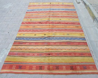 5.6x9.2 Ft Striped colorful vintage Turkish kilim rug