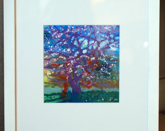 Wall Art Tree Painting by John McClenaghen, Cherry Plum Tree, Landscape Painting, Colourist, Semi Abstract