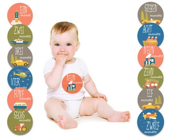 Paul & Gretchen baby month sticker for the 1st year of life (German) - transport designs
