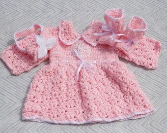 Child sweater. Whole baby slipper, dress, headband. crocheted by hand
