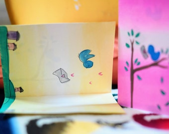 Hand Painted Little Blue Bird with Letter...