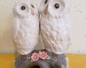 Pair of Porcelain Owls. Made in Spain