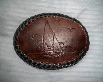 Leather belt buckle
