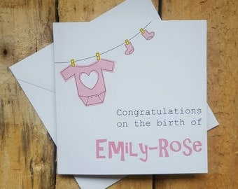 Baby girl congratulations card - new baby girl - new arrival - congratulations on the birth of card - personalised baby card - baby girl