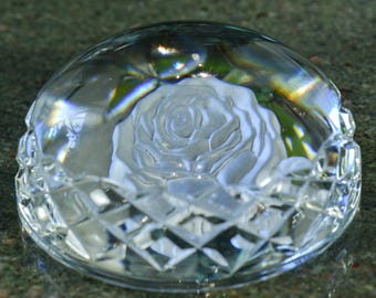 Waterford Crystal Paperweight with Intaglio Etched Rose
