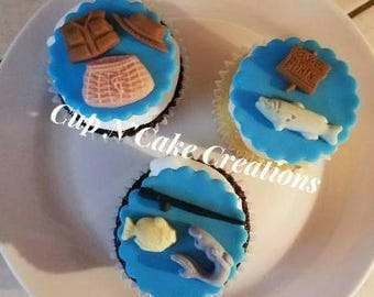 Fishing Cupcake Toppers handmade by CupNCakeCreations
