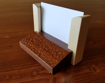 Business Card Holder, Brazilian Lacewood and Maple