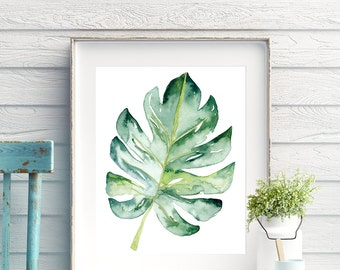 Monstera leaf botanical wall art print, Tropical monstera deliciosa printable wall art poster in watercolour, Large botanical poster digital
