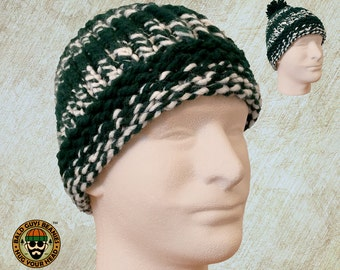 Green and White Beanie, White and Green Knit Winter Hat, Unisex Beanie, Unisex Green and White Sports Team Colors Knit Hat for Men or Women