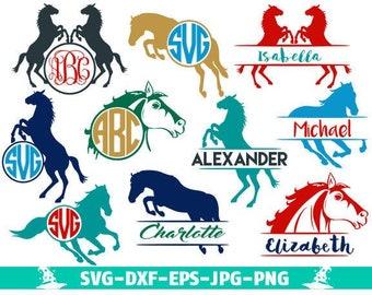 Horse Svg Files Monogram frames Horse Monogram SVG Files Horse Svg Horse Riding Svg Files cowboy svg Horse Cut File Design Silhouette Cricut