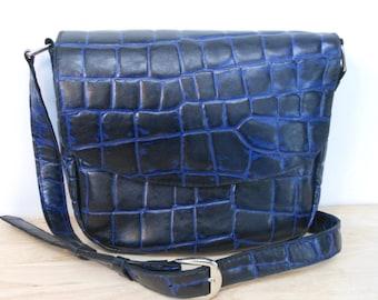 Bag leather semi soft waffle pattern blue and black