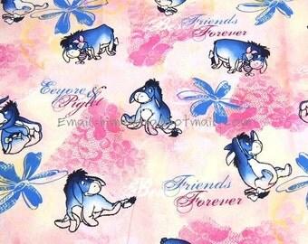 wn038 - 1 Yard SDLP Cotton Woven Fabric - Cartoon Characters, Winnie the Pooh, Eeyore - Light Pink (W140)