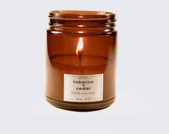 Tobacco and Cedar Candle - 100% hand poured soy wax and fine fragrance