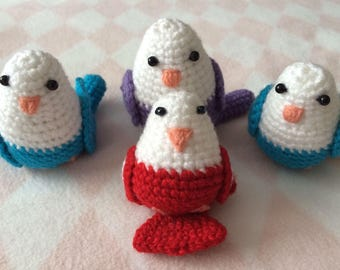 Crocheted Budgies in Blue, Purple and Red