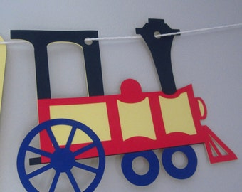 Happy Birthday Banner, train, party banner, train decor