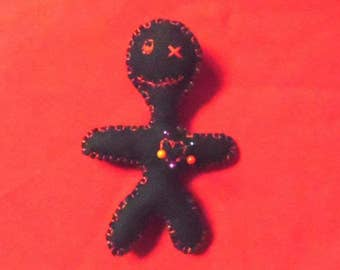 Voodoo doll pincushion, black voodoo doll, little black pincushion, felt voodoo doll, sewing supplies, sewers voodoo doll, halloween  gift