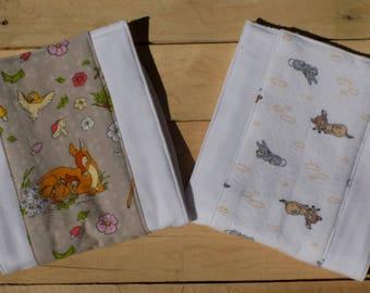 Set of 2 Disney's Bambi Burp Cloths - Baby Shower Gift - 6 Ply Premium