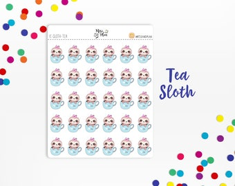 Planner Sticker Icons- Tea Sloth Icons