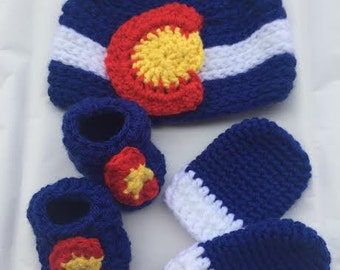 Crochet New Born Baby Colorado Flag Set