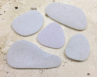 Frosted Surf Tumbled Beach Glass, Genuine Jewelry Quality Beach Glass Pieces, Frosted White Beach Glass Lot, (GP-08)