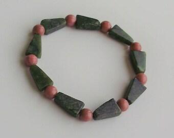 Pink Rhodonite and Green Serpentine Bracelet