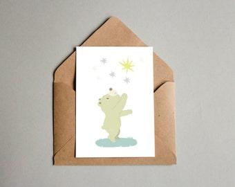 Little Bear Postcard Birthday Present Greeting Card Giftcard Illustration