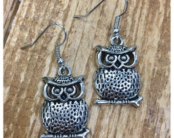 Silver owl dangle earrings