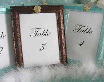 10 Glitter Frames  Picture Frames 5x7 Frames Wedding Frames Table Number Frames Table Number Holders Menu Frames, Frames, Tiffany, Brown, Fa