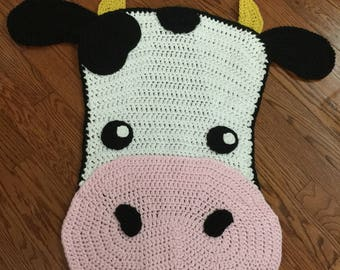 Cow rug or baby blanket ready to ship