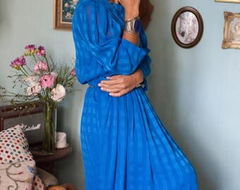 Vintage Blue Silk Chiffon Dress with Geometric Pattern