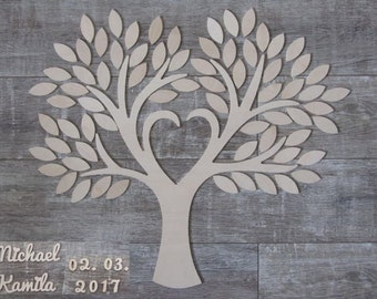 Wedding tree - guestbook personalized wedding wedding tree wood type 3