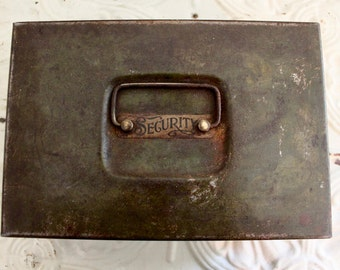 Vintage Green Security Box / Antique Rustic Metal Box with Handle/Vintage metal box