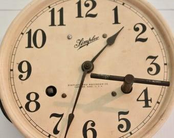 Vintage Simplex Clock with Pendulum, Vintage wall clock, Farmhouse clock