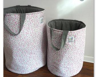 Toy Basket XL, Loundry Basket, Floral Basket, Storage Basket, Pink Basket, Grey, Nursery Basket, Meadow Basket, Pink Meadow Basket