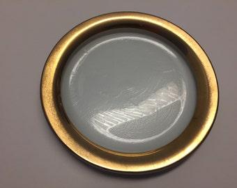Annieglass (signed & dated)Gold Rim Dessert Dish