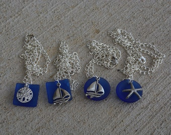 Sea Glass Necklace Pewter on Blue