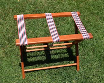 large vintage solid wood folding luggage suitcase stand / tray stand / table