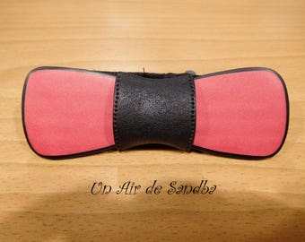 """Bowtie mixed, Pap's """"Red"""", in polymer clay."""