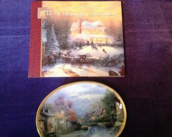 """Thomas Kinkade plate, """"lamplight Brooke"""" and Thomas Kinkade Christmas book"""