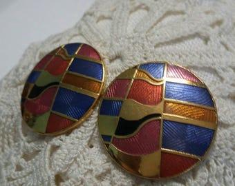 RESERVEDMSJMulti colored mosaic look gold tone metal post earrings