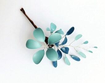 Hair clip flower vine blue/turquoise