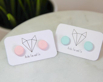 Pastel Round Stud Earrings - Handmade Polymer Clay