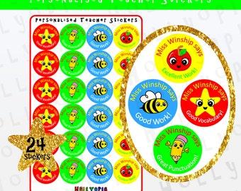 24 Personalised Teacher Stickers, Reward Stickers, School Stickers, New Teacher Gift Idea UK