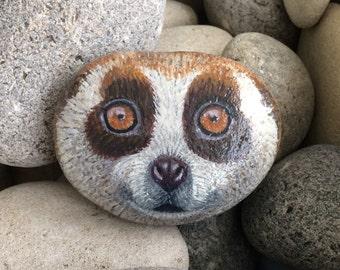 Slow loris (Bush Baby) painted pebble