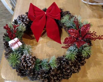 Hand crafted pinecone Christmas wreath