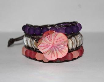 Women's Seashell and Sea Glass Wraparound Bracelet