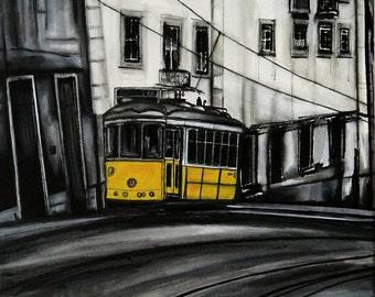 Lisbon tram, yellow