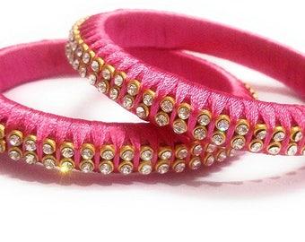 Silk Thread Bangles in Pink