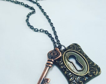 Key and Lock Charm Necklace