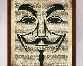 V for Vendetta Mask poster, V for Vendetta Mask wall art, Dictionary Page Print, Book Page Print, Dictionary Art, V for Vendetta Mask Print